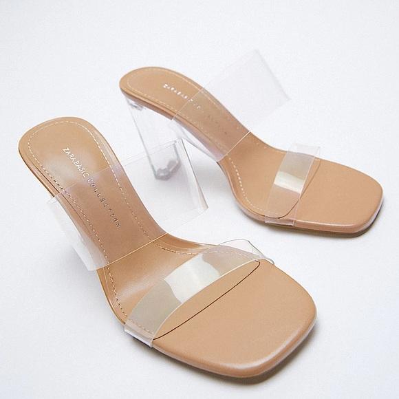 Zara PVC Sandals Lucite Heels!